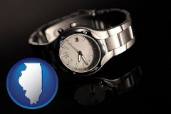 illinois map icon and a wristwatch on a black background, with reflection