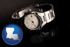 louisiana map icon and a wristwatch on a black background, with reflection