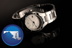 maryland map icon and a wristwatch on a black background, with reflection