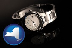 new-york map icon and a wristwatch on a black background, with reflection