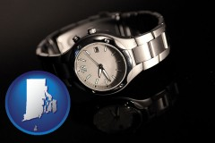 rhode-island map icon and a wristwatch on a black background, with reflection