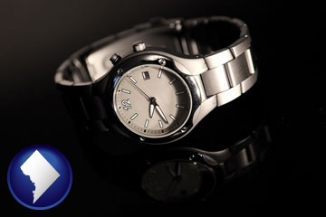 a wristwatch on a black background, with reflection - with Washington, DC icon