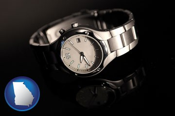 a wristwatch on a black background, with reflection - with Georgia icon