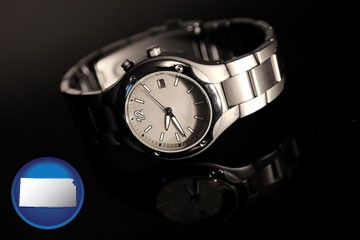a wristwatch on a black background, with reflection - with Kansas icon