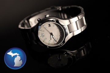 a wristwatch on a black background, with reflection - with Michigan icon