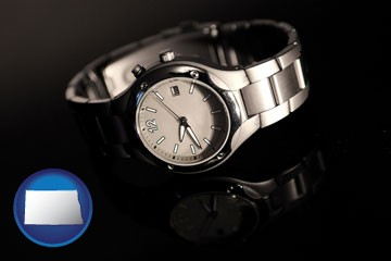 a wristwatch on a black background, with reflection - with North Dakota icon
