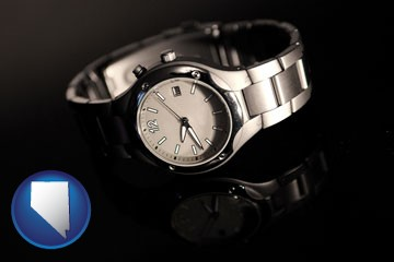 a wristwatch on a black background, with reflection - with Nevada icon