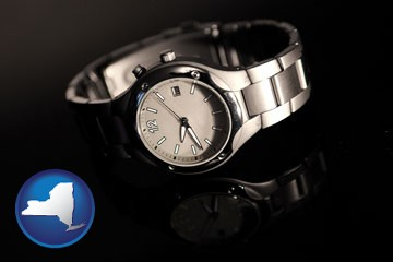 a wristwatch on a black background, with reflection - with New York icon