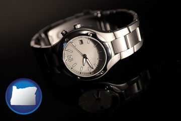 a wristwatch on a black background, with reflection - with Oregon icon