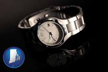a wristwatch on a black background, with reflection - with Rhode Island icon