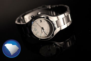 a wristwatch on a black background, with reflection - with South Carolina icon