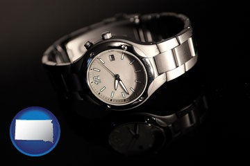 a wristwatch on a black background, with reflection - with South Dakota icon