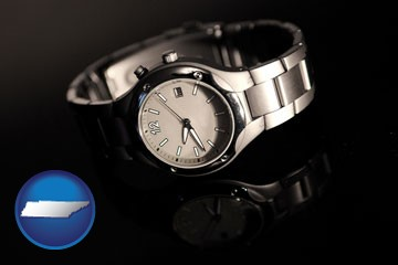 a wristwatch on a black background, with reflection - with Tennessee icon
