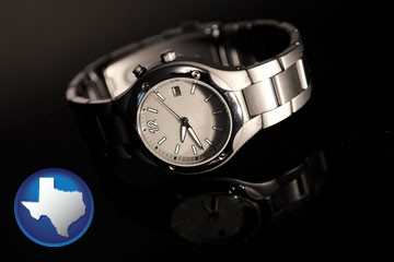 a wristwatch on a black background, with reflection - with Texas icon