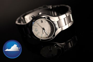 a wristwatch on a black background, with reflection - with Virginia icon