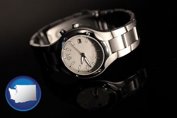 a wristwatch on a black background, with reflection - with Washington icon