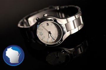 a wristwatch on a black background, with reflection - with Wisconsin icon