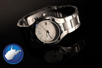 a wristwatch on a black background, with reflection - with West Virginia icon